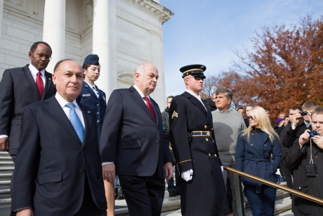 Wreath laying party