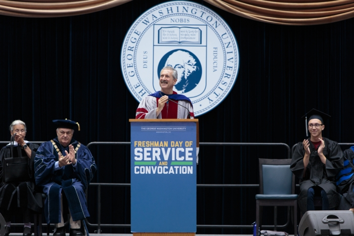 Provost Steven Lerman speaking at Convocation. (Photo: William Atkins)