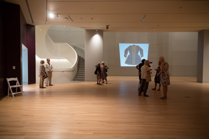 Visitors toured the museum's gallery spaces.