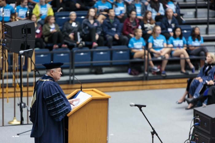 GW President Knapp speaks at Convocation. (Photo: William Atkins)