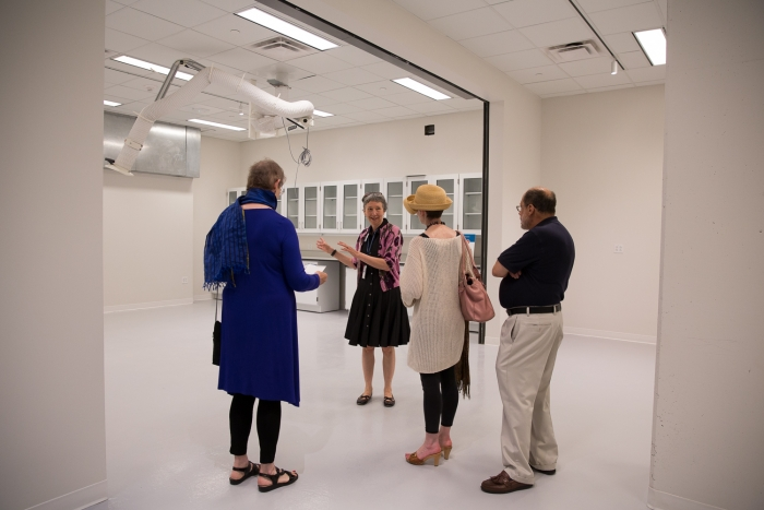 Esther Méthé, The Textile Museum's chief conservator, explains how textiles will be prepared before going on display.