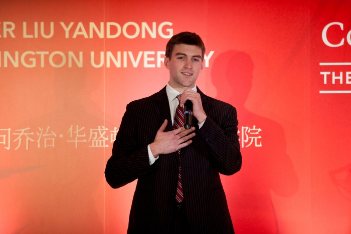 "Andrew Chester, B.A. '13, recited the poem ""Farewell to Cambridge"" in Chinese."