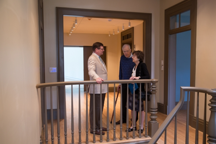 Bruce Baganz, president of The Textile Museum's board of trustees, discussed upcoming plans with museum supporters.