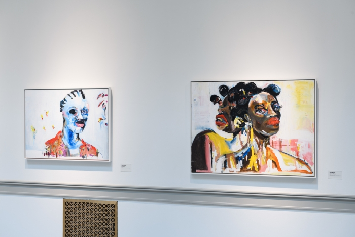 Jared McGriff - Six Flowers, 2018, oil and acrylic on canvas, 31 3/8 x 41 1/2 (Left). Janusian Things, 2018, Oil and acrylic on