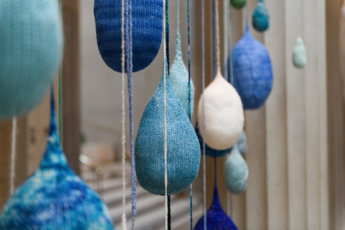 Evelyn Politzer - Every Drop Counts, 2018, hand-knit wool, dimensions variable.