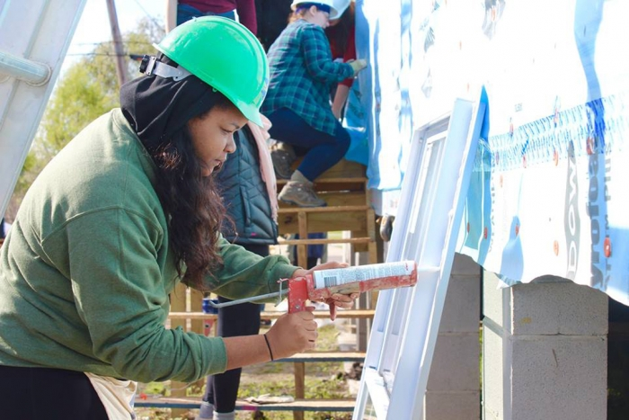 Student Gabriela Whonder works on a construction project
