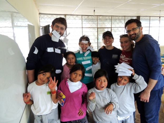 In Ecuador, GW students learned from local teachers how to plan and team-teach English lessons to children in the community. (Ph