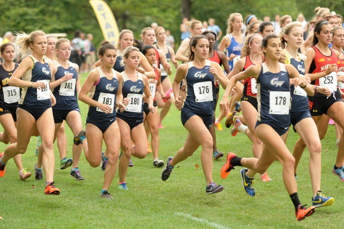 Members of the George Washington women's cross country at the start of the Salty Dog Invitational at the United States Naval Aca