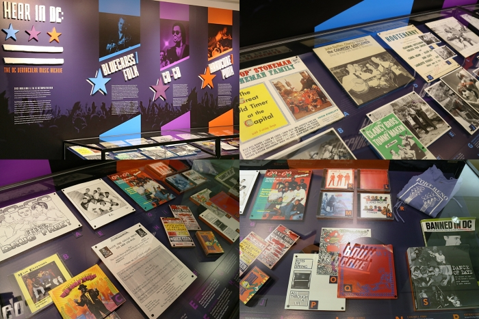 This photo collage shows the three genres - Bluegrass/Folk, Go-Go, Hardcore/Punk - represented in the permanent display case at