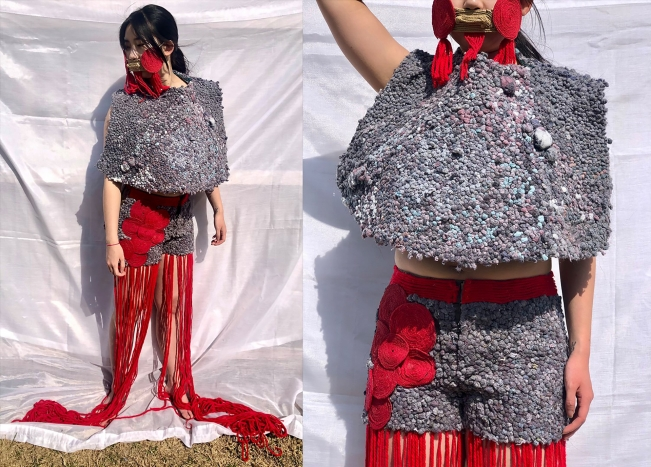 Image of person in fringed garment and mask