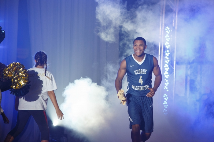 Freshman Justin Williams is introduced to the crowd