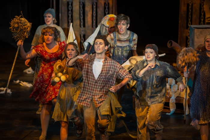 The cast of Urinetown: The Musical performs at the Marvin Center.