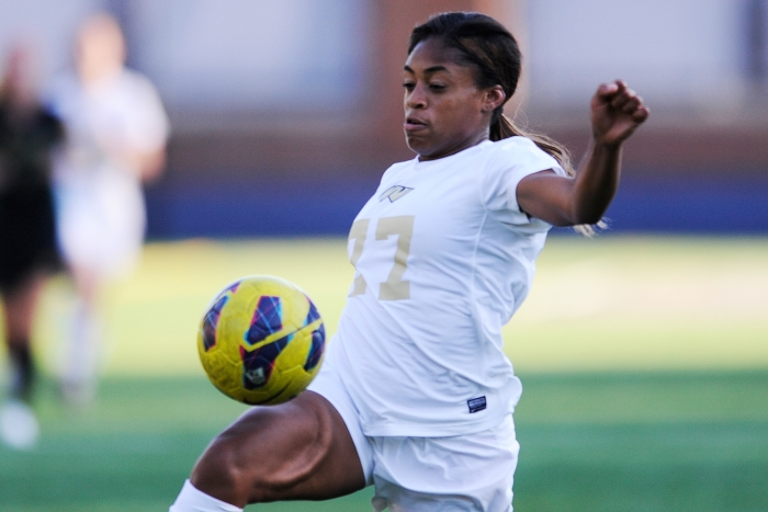 GW forward Kyla Ridley controls the ball during a recent match against local A-10 rival George Mason University. The Colonials d