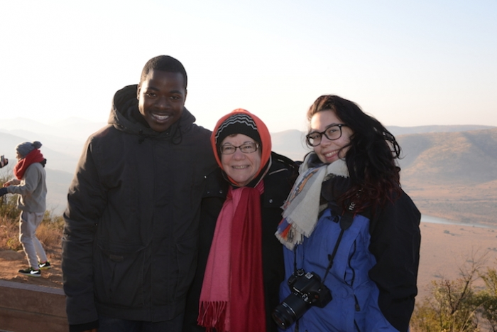 Senior Floyd Jones, Leslie Jacobson and senior Victoria Neiman-Vigo at the highest point in South Africa's Pilanesburg Game Pres