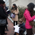 Students wait in line to get into 'The Colbert Report.'