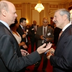 John Holmblad, M.S. '80, shares a moment with Provost and Executive Vice President for Academic Affairs Steven Lerman.
