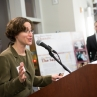 Jennifer King, interim director of special collections, GW Libraries speaks at the reception