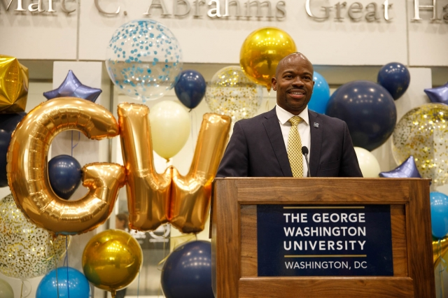 New Provost M. Brian Blake gave remarks and chatted with GW community members. (William Atkins/GW Today)
