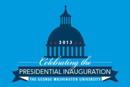 Celebrating the Presidential Inauguration, The George Washington University with graphical representation of the Capitol