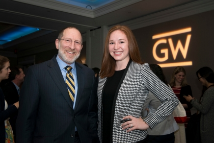 GW Law professor Steven Schooner (l) and Victoria Dalcourt Angle at the 2019 Power & Promise Dinner. Ms. Dalcourt Angle receives