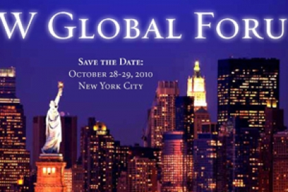 GW global forum save the date with NYC skyline