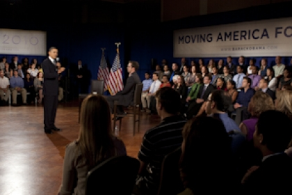 President Obama speaks to crowd at town hall meeting at GW