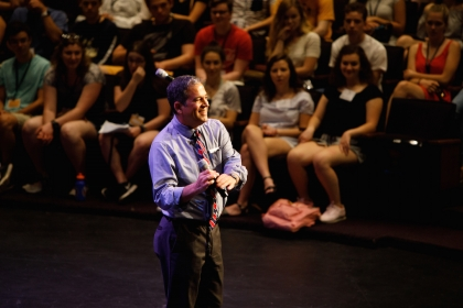 Provost Forrest Maltzman welcomed incoming freshmen to campus at the first Colonial Inauguration. (William Atkins/GW Today)