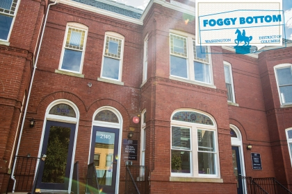 Getting to Know the DMV: Foggy Bottom (Image of row houses in Foggy Bottom belonging to the George Washington University)