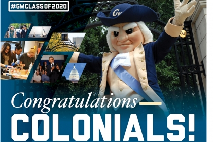 Congratulations Colonials with a celebrating George mascot