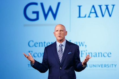 David Falk speaks at the Jack Morton Auditorium. (William Atkins/GW Today)