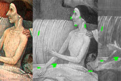 Death and the Miser painting next to xray image of painting with green dots for refined reference points