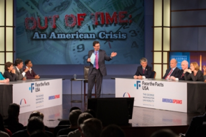 Out of time: An American Crisis Face the Facts USA event with speakers sitting at tables