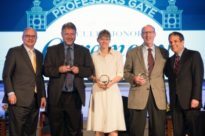 (From left) GW President Thomas LeBlanc; Trachtenberg Faculty Prize winners Hugh Gusterson, Heather Berry and Anthony Yezer; and