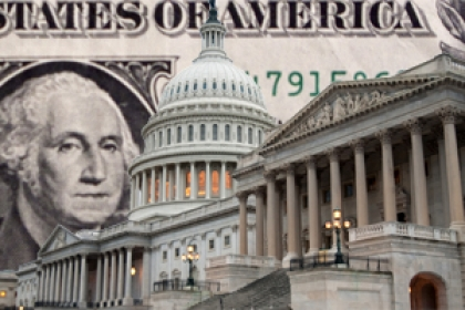 financial reform graphical representation of dollar bill with U.S. Capitol laid in front