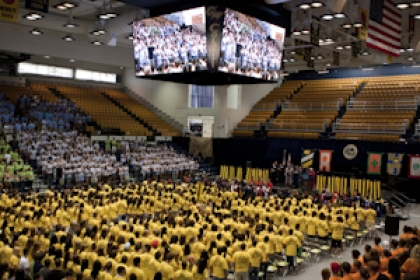 view of Charles E. Smith Center during freshmen convocation