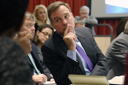 Sen. Mark Warner (D-Va.) attended the Virginia Unmanned Systems Commission meeting at the George Washington University.