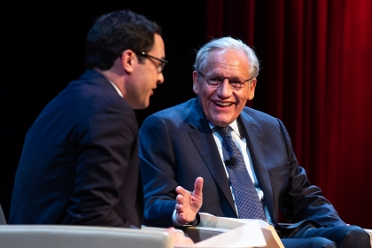 "Image of Bob Woodward discussing ""Fear"" with Michael Schmidt of the New York Times."