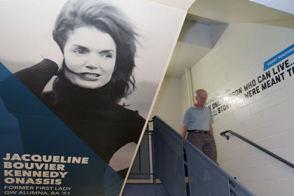 Photos of famous GW alumni now decorate stairwells in the Marvin Center. (Photo: Rob Stewart)