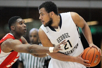 Kevin Larsen and the GW Colonials will host St. Louis on Tuesday. (Rob Stewart/GW Today)