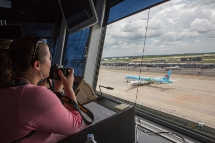 Teachers watched from the Dulles Airport ramp tower as air traffic controllers guided planes to safety. (All photos: William Atk