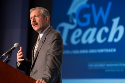 Provost Steven Lerman speaks at the GWTeach launch event on Tuesday. (Photo: William Atkins/GW Today)
