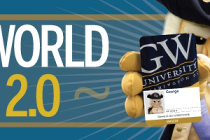 GWorld 2.0 with George Washington Mascot George holding an updated GWorld card