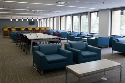 Renovated student space features chairs and tables