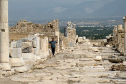 student standing in Greece during study abroad trip