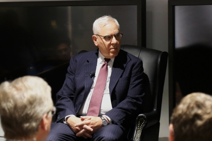 David Rubenstein talks to National Churchill Library and Center director Michael Bishop.