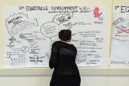 Local artist Jess Solomon created visual notes throughout the second annual Equitable Development Conference.