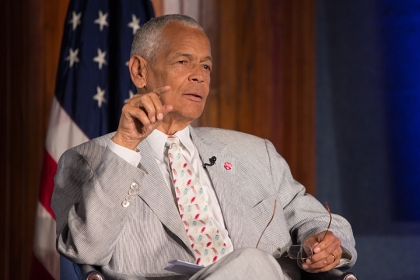 Julian Bond speaks on stage