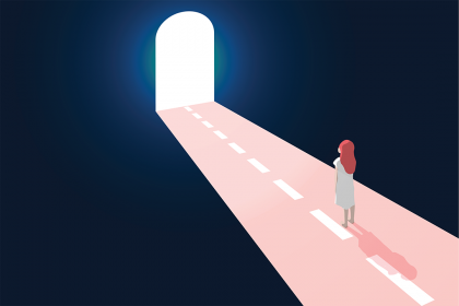 Patient on a road in a tunnel with a light at the end