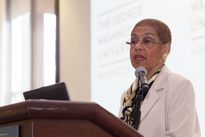 Eleanor Holmes Norton, pictured here at Martin Luther King Day of Service at GW,