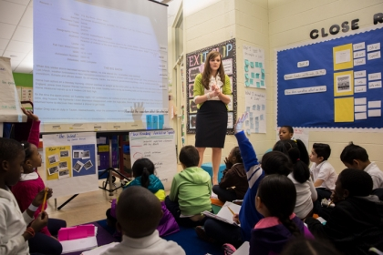 GW graduate and public school teacher Michelle Johnson leads a classroom lesson